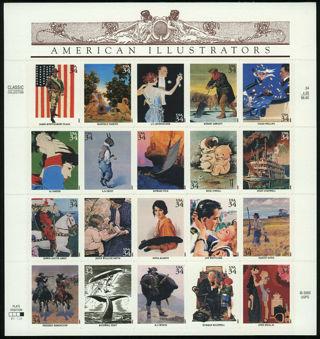 REDUCED!!  US #3502 34¢ American Illustrators Sheet of 20 F-VF NH MNH