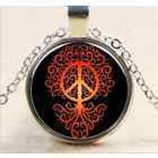 ~PEACE SYMBOL NECKLACE~EAGLE FLAME NECKLACE~new~glass dome cabochon style~gift wrapped!~