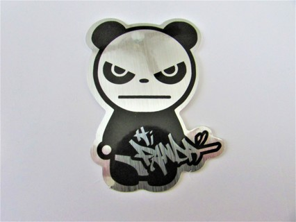 BAD PANDA- METAL FINISH Vinyl Sticker- Helmet/Car/Skateboard/Business/Crafts