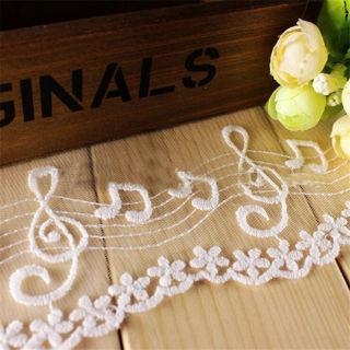 1 Yard Embroidered Cotton Mesh Music Lace Trim Bridal Ribbon Dress Craft Sewing