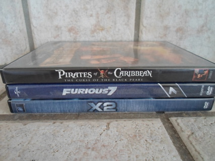 DVD-3 GREAT MOVIES: PIRATES OF THE CARIBBEAN/ FURIOUS 7/ X2 X-MEN UNITED!
