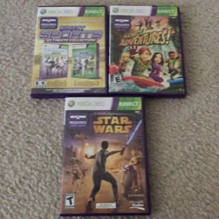 Used Xbox 360 Kinect games (Kinect Sports Ultimate, Star Wars, Adventures!)