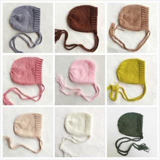 Soft Knitted Baby Hat Newborn Photo Props Caps Solid Color Infant Boy Girl Crochet Beanie Autumn W