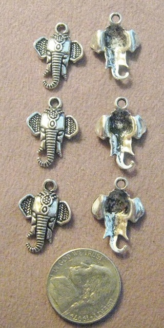 4 Silver Pewter Elephant Charms ~Very Detailed ~  Gin