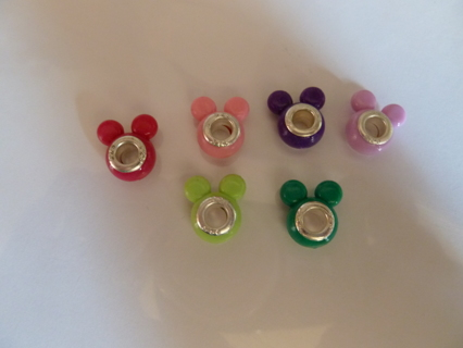 6 Color Mickey Mouse 925 Euro Charm Beads