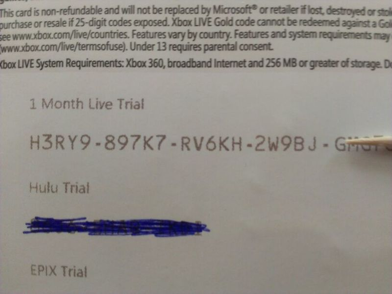free 1 month xbox live code