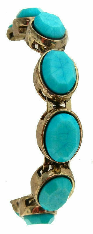Chicos Turquoise Bangle Bracelet Antique Gold Magnetic Clasp fits all oval NWT