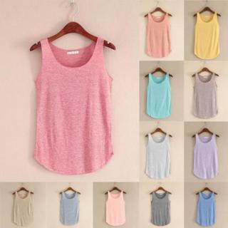 NEW Womens Stretch Sleeveless Tank Blouse Ladies Cotton Camisole Vest Tops Cami
