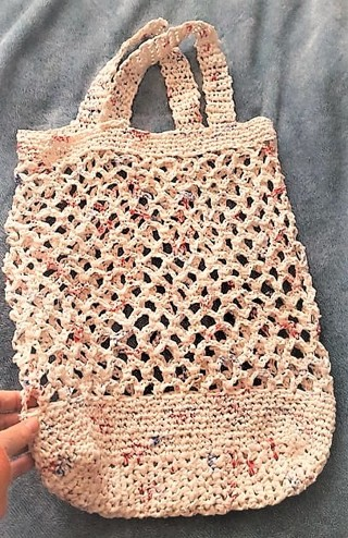Recycled Plastic (Plarn) Grocery Tote Crocheted