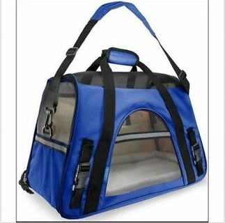 Pet Carrier Cat Dog Airline Approved Fleece Bag Medium Blue Black