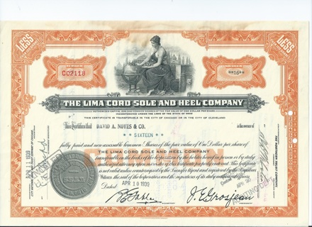 Lima Cord Sole & Heel stock certificate 1939 Company made Boy Scout Shoes