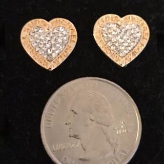 MK Heart Women's Earrings Gold Silver Color New