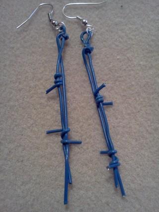 "Blue ""Barbed Wire"" Earrings"