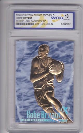 Kobe Bryant Rookie Card -1996-97 Skybox EX-2000 23KT GOLD - Limited Edition - Graded GEM MINT 10 !!!