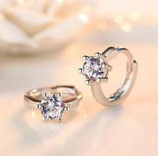 NEW 925 Sterling Silver Diamond Hoop Earrings