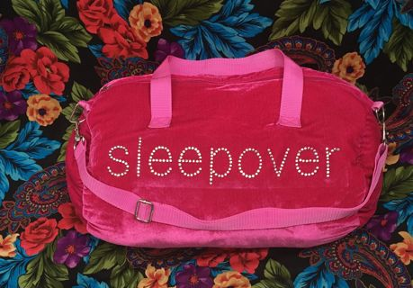 PINK RHINESTONE BAG Totally Me Girls Pink Velvet Sleepover Bag with Rhinestones