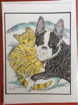 "BOSTON  TERRIER AND KITTEN  - 5 x 7"" art card by artist Nina Struthers - GIN ONLY"