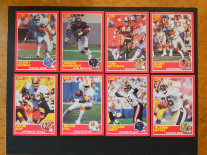 8 - 1989 Score Football Cards Winder McKinnon Rathman Case May Hill Dent Mayes - FREE Shipping!