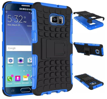 1 NEW SAMSUNG GALAXY s6 Blue HYBRID Case Scratch-Resistant Shock Absorbent Tire non slip Grip Stand