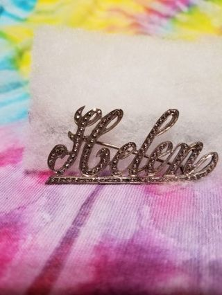 LARGE VINTAGE STERLING SILVER MARCASITE NAME HELEN PIN