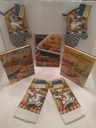 Taste of Home Cook Book Lot of (3), Oven Mitts & Kitchen Towels