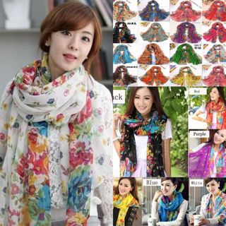 Fashion Long Cotton Voile Floral Shawl Scarf Wrap Stole For Girls/Lady