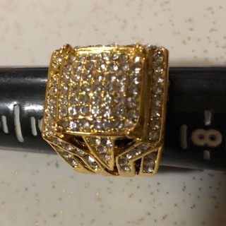 Men's Gold Plated CZ Ring SZ 7, Excellent condition