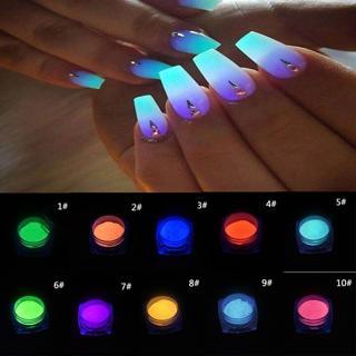 NEW Glow In Dark Neon Color Manicure Pigment Nail Art Powder Polish Decorations