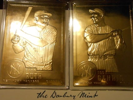 Free 24 K Gold Plated Babe Ruth Lou Gehrig Baseball Cards By The