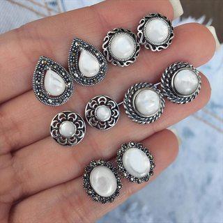 10 Pcs Women Personality Flower Carved Hollow Drop Gem Opal Earrings Set Party Wedding Gift