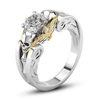 Fashion Women/Men's 925 Silver White Topaz Skull Ring Party Gift Jewelry Sz 6-10