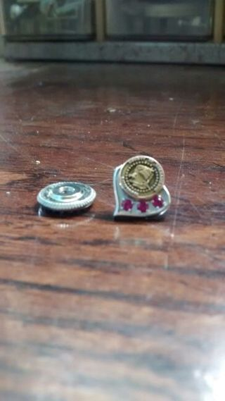 Vintage 10k Gold With 3 Genuine Tourmaline Stones Tie Or Lapel Pin And Seal Of Calif.
