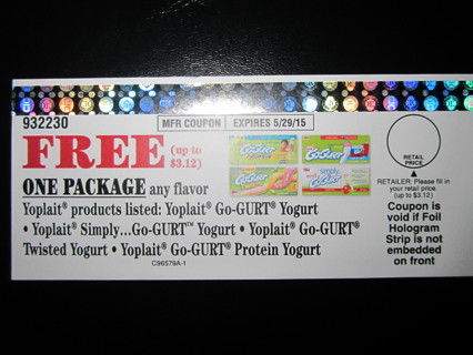 Coupon for a Free Package of Yoplait Go-GURT Yogurt