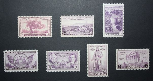 1935 U.S. Stamps - SC772, 773, 774, 775, 776, 777, 782 - Commemorative Set - Mint, Unused, NH,OG