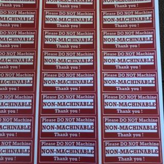 Non-machinable labels