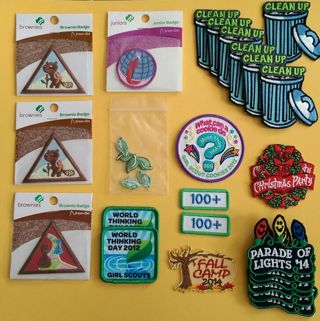 69 assorted Girl Scout patches