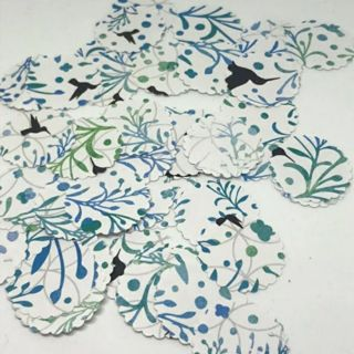 """SALE Hummingbird Blues and Greens 1"""" Scalloped Rounds 45 pieces"""