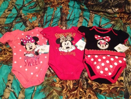 Minnie Mouse Size 6-9 Months Onesies NWT