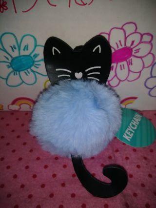 ❤✨❤✨❤BRAND NEW CUTE POWDER BLUE & BLACK POM-POM CAT KEYCHAIN❤✨❤✨❤LAST 1!
