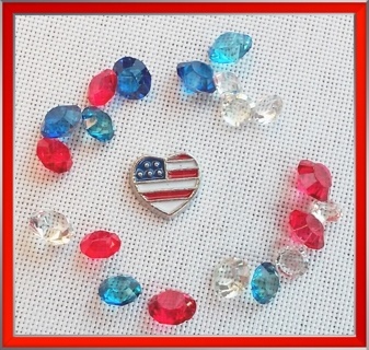 AMERICAN FLAG HEART FLOATING LOCKET CHARM WITH MATCHING GEMS