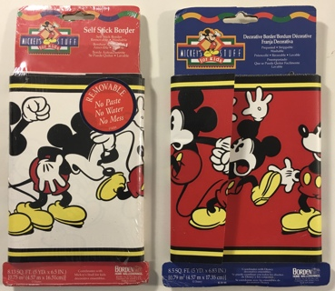 Disney Mickey Mouse Stuff For Kids Pre-Pasted / Self-Stick Wallpaper Decorative Border - 2 Packs