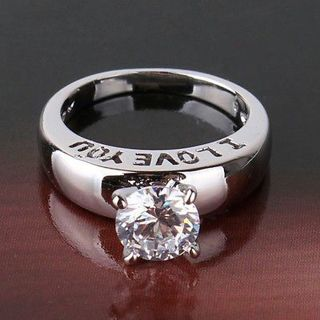 Ring Fit swarovski crystal LADY wedding ring ! 18k white gold filled ring Sz5-Sz9