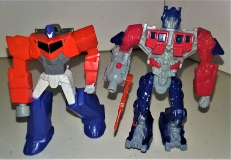 """2 2010-15 plastic Transformer action figures made in China for McD - 4"""" tall - does not transform"""