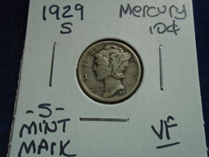 VF 1929-S MERCURY DIME -S- MINT MARK!