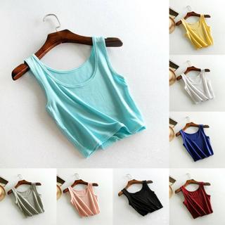 Women Sleeveless T-Shirt Tank Short Cami Vest Crop Top Blouse Beach Summer Gym