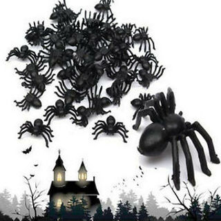 100X Plastic Black Spider Trick Toy Party Halloween Haunted House Prop Decor c
