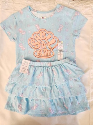 GIRLS 2 PIECE SIZE 7 T-SHIRT & SKIRT WITH ATTACHED SHORTS***TO CUTE***