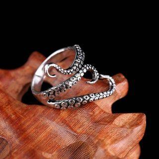 SUPPER COOL Women Men Punk Vintage Silver Octopus Finger Open Adjustable Ring Unisex Jewelry