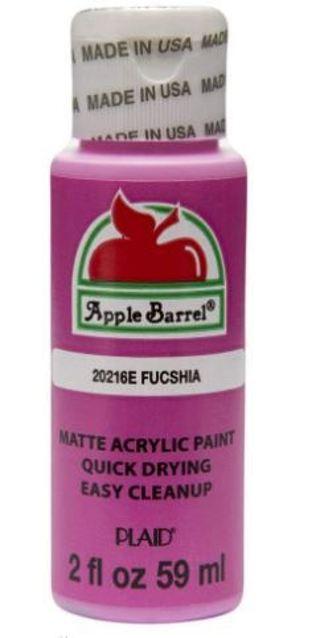 3 bottles - Apple Barrel Acrylic Paint Black, Flag Red, Fuschia, 2oz