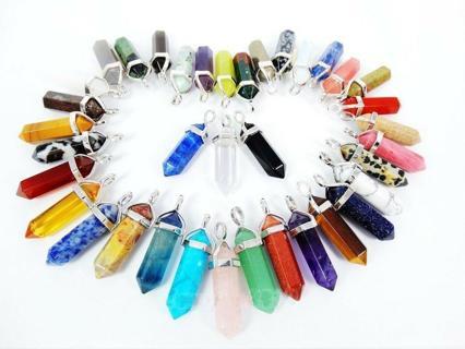 Rock Natural Crystal Quartz Healing Point Chakra Stone Pendant Gemstone Necklace